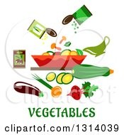Flat Design Of A Salad And Vegetables Over Text