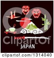 Clipart Of A Flat Design Of Japanese Items Over Text Royalty Free Vector Illustration