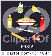 Clipart Of A Flat Design Of Ingredients Around A Bowl Of Pasta Over Text Royalty Free Vector Illustration