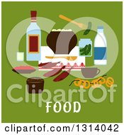 Clipart Of A Flat Design Of Traditional Russian Foods Over Text On Green Royalty Free Vector Illustration by Vector Tradition SM