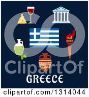 Flat Design Of Traditional Greek Items And Flag Over Text On Blue