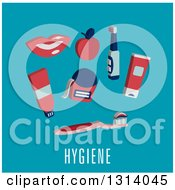 Clipart Of A Flat Design Of Dental Items Over Hygiene Text On Blue Royalty Free Vector Illustration by Vector Tradition SM