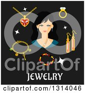Clipart Of A Flat Design Of A Woman With Jewelery Over Text Royalty Free Vector Illustration