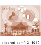Clipart Of A Brown Living Room Interior With Sample Text Royalty Free Vector Illustration by Vector Tradition SM