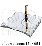 Cartoon Fountain Pen Character Welcoming Over A Notebook With Ruled Pages