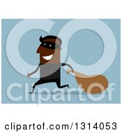 Clipart Of A Flag Design Happy Black Male Bank Robber Running With A Sack On Blue Royalty Free Vector Illustration