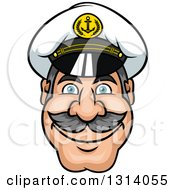 Clipart Of A Cartoon Smiling Mustached Captains Face Royalty Free Vector Illustration by Vector Tradition SM