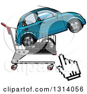 Clipart Of A Hand Computer Cursor By A Cart With Tires And A Car Royalty Free Vector Illustration by Vector Tradition SM