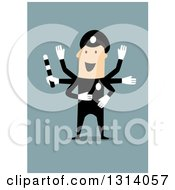 Clipart Of A Flat Design White Police Officer Directing Traffic With Many Hands Royalty Free Vector Illustration by Vector Tradition SM