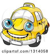 Clipart Of A Cartoon Happy Blue Eyed Yellow Taxi Cab Character Royalty Free Vector Illustration