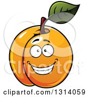 Clipart Of A Cartoon Grinning Apricot Character Royalty Free Vector Illustration