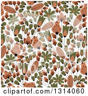 Clipart Of A Seamless Tan And Green Flower Pattern Background Royalty Free Vector Illustration