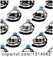 Seamless Police Car Character Pattern Background