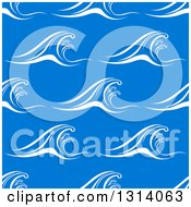 Clipart Of Seamless Background Pattern Of White Waves Over Blue 3 Royalty Free Vector Illustration