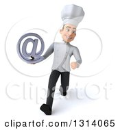 Clipart Of A 3d Young White Male Chef Speed Walking And Holding An Email Arobase At Symbol Royalty Free Illustration