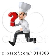 Clipart Of A 3d Young White Male Chef Sprinting To The Left And Holding A Question Mark Royalty Free Illustration