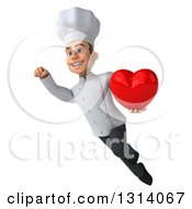 Clipart Of A 3d Young White Male Chef Flying And Holding A Heart Royalty Free Illustration