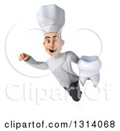 Clipart Of A 3d Young White Male Chef Flying And Holding A Tooth Royalty Free Illustration