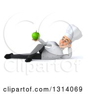 Clipart Of A 3d Young White Male Chef Resting On His Side And Holding A Green Apple Royalty Free Illustration