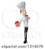 Clipart Of A 3d Full Length Young White Male Chef Holding A Strawberry Around A Sign Royalty Free Illustration