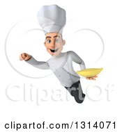 Clipart Of A 3d Young White Male Chef Flying And Holding A Banana Royalty Free Illustration