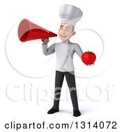 Clipart Of A 3d Young White Male Chef Holding A Tomato And Using A Megaphone Royalty Free Illustration
