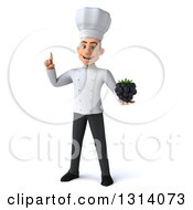 Clipart Of A 3d Young White Male Chef Holding Up A Finger And A Blackberry Royalty Free Illustration