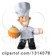 Clipart Of A 3d Short White Male Chef Presenting And Holding A Navel Orange Royalty Free Illustration