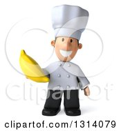 Clipart Of A 3d Short White Male Chef Holding A Banana Royalty Free Illustration