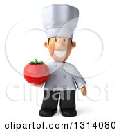Clipart Of A 3d Short White Male Chef Holding A Tomato Royalty Free Illustration