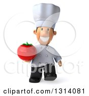 Clipart Of A 3d Short White Male Chef Walking And Holding A Tomato Royalty Free Illustration