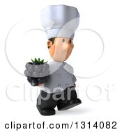 Clipart Of A 3d Short White Male Chef Walking Slightly Right And Holding A Blackberry Royalty Free Illustration