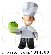 Clipart Of A 3d Short White Male Chef Holding A Green Bell Pepper Royalty Free Illustration
