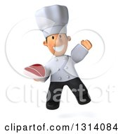 Clipart Of A 3d Short White Male Chef Jumping And Holding A Beef Steak Royalty Free Illustration