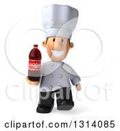 Clipart Of A 3d Short White Male Chef Walking And Holding A Soda Bottle Royalty Free Illustration