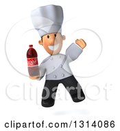 Clipart Of A 3d Short White Male Chef Jumping And Holding A Soda Bottle Royalty Free Illustration