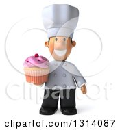 Clipart Of A 3d Short White Male Chef Holding A Pink Frosted Cupcake Royalty Free Illustration