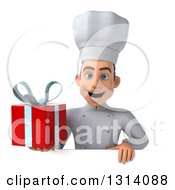 Clipart Of A 3d Young White Male Chef Holding A Gift Over A Sign Royalty Free Illustration