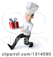 Clipart Of A 3d Young White Male Chef Speed Walking To The Left And Holding A Gift Royalty Free Illustration