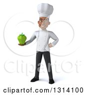 Clipart Of A 3d Young Black Male Chef Holding A Green Bell Pepper Royalty Free Illustration