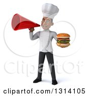 Clipart Of A 3d Young Black Male Chef Holding A Double Cheeseburger And Using A Megaphone Royalty Free Illustration