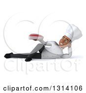 Clipart Of A 3d Young Black Male Chef Resting On His Side And Holding A Beef Steak Royalty Free Illustration