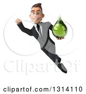 Clipart Of A 3d Happy Young White Businessman Flying And Holding A Green Tincture Or Medicine Drop Royalty Free Illustration by Julos