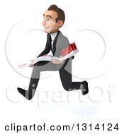 Clipart Of A 3d Happy Young White Businessman Sprinting To The Left And Holding A Giant Toothbrush Royalty Free Illustration