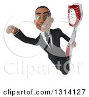 Clipart Of A 3d Happy Young Black Businessman Flying And Holding A Toothbrush Royalty Free Illustration