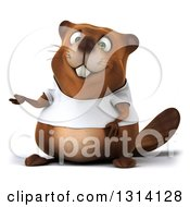 Clipart Of A 3d Happy Casual Beaver Wearing A T Shirt And Presenting To The Left Royalty Free Illustration
