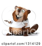 Clipart Of A 3d Happy Casual Beaver Wearing A T Shirt And Pointing To The Left Royalty Free Illustration