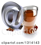 Clipart Of A 3d Beer Mug Character Holding Up An Email Arobase At Symbol Royalty Free Illustration