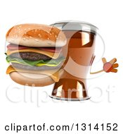 Clipart Of A 3d Beer Mug Character Jumping And Holding A Double Cheeseburger Royalty Free Illustration