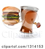 Clipart Of A 3d Beer Mug Character Holding And Pointing To A Double Cheeseburger Royalty Free Illustration